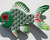 Goldfish Art Heineken Bottle Cap Metal Wall Art Bottecap Green Fish