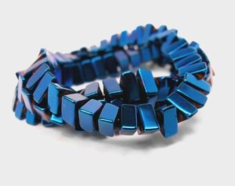 """Blue Triangle Hematite 6mm Beads 16"""" full strand (2014)"""