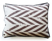 Linen pillowcases ZIGZAG Brown chevron printed linen Corduroy trimmed by Lovely Home Idea