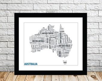 Australia Typography Map 8x10 Print