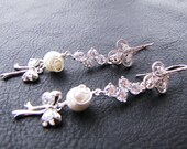 Long dangle bridal earrings with south sea shell pearls & silver bow on sterling silver ear hooks - Joy