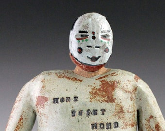 Border Monster Ceramic Figurative sculpture with Aging Dandy  Mask