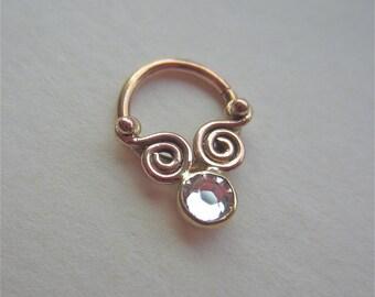 Pivot Gem : Gold Nose Ring .. Septum Jewelry .. Swarovski Crystal  4mm gemstone Nose Hoop .. 14K Gold ..  Aprilsblissed