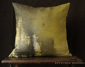 "Abstract ombre cushion cover. Yellow~black ombre pillow 18"" square linen.  Vintage inspired  .. / RETRO-MODERN Mannish interior"