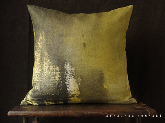 """Abstract ombre cushion cover. Yellow~black ombre pillow 18"""" square linen.  Vintage inspired  .. / RETRO-MODERN Mannish interior"""