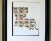 Louisiana map made from recycled postage stamps