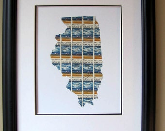 Illinois recycled postage stamp map