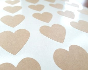 Medium Heart Stickers, Kraft Heart Sticker, Straw Stickers, 1.5""