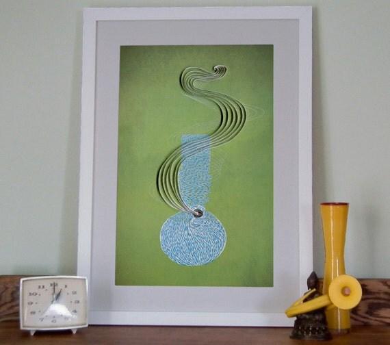 Bong print, Marijuana Print, Pot Poster, Bong paper art, Paper art print, Dorm Decor, Glass bong Poster, bong illustration, Cannabis Poster