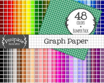48 Graph Digital Paper Pack, Grid Digital Scrapbooking Paper, Instant Download, Commercial Use, Rainbow, Printable Paper, Card