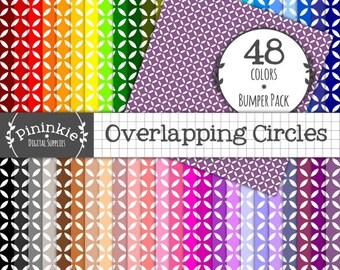 48 Circle Digital Scrapbooking Paper - INSTANT DOWNLOAD - Geometric Digital Paper - 12x12 - Commercial Use (CU)