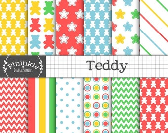Teddy Bear Digital Paper, New Baby Digital Paper, Baby Digital Scrapbook Paper, Stars Paper Pack Digital, Instant Download, Commercial Use