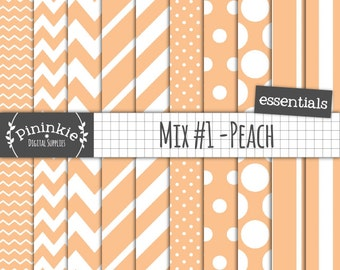 Peach Digital Paper, Peach Scrapbook Paper, Chevrons, Polka Dots, Stripes, Instant Download