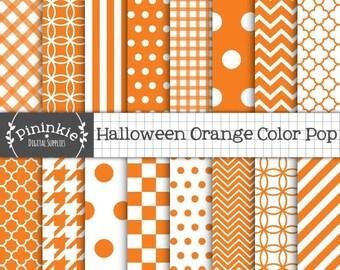 Orange Digital Paper, Halloween Scrapbooking Paper, Diagonal Stripe, Polka Dots, Chevrons, Checks, Houndstooth, Quatrefoils, Gi
