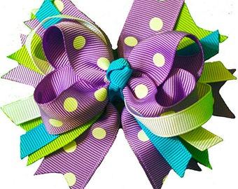 Blue green Lavendar Polka Dot inspired Hair Bow Grossgrain Loopy Boutique Handmade girls