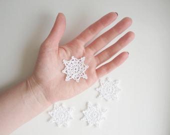Crochet Snowflakes, Christmas Decorations, Christmas Tree Appliques, Snow White Snowflakes, Decorative Motifs, Set of 4