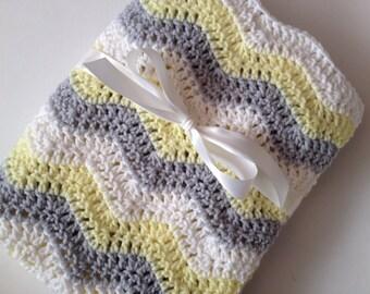 Baby blanket crochet light yellow light gray white ripple chevron blanket