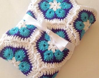 African flower baby blanket crochet white turquoise purple blanket