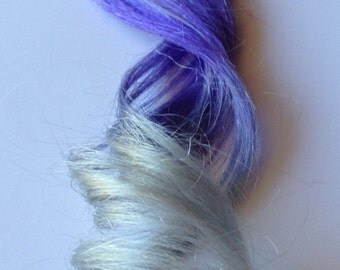 18 inch 100% Human Hair Extensions Purple Silver White Ombre Dip Dye Fade Clip in or Tape style