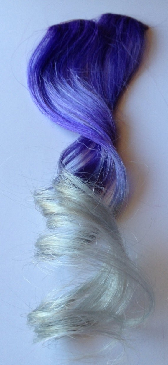 18 Inch 100 Human Hair Extensions Purple Silver White Ombre Etsy