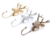 One Cast Iron - Decorative Deer Wall Hook - Choose A Color - Deer Hook Key Holder - Woodland Coat Rack - Home Decor Wall Hook  DWH081009