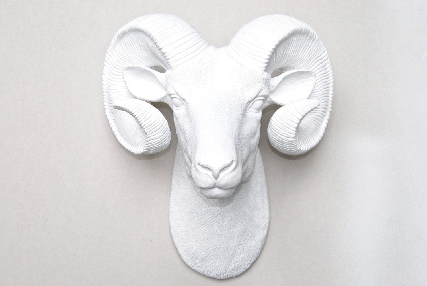 White ram head wall mount faux bighorn sheep wall hanging zoom amipublicfo Gallery