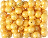 20mm - 10 PACK of Yellow AB Faceted 20mm Gumball Beads, Chunky Acrylic Beads, 20mm Beads, Disco Ball Beads, 2mm Hole (R7-143)
