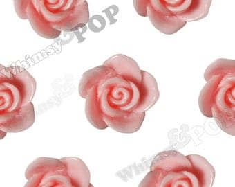 Pink Rose Beads, Flower Beads, Drilled Flowers, 17mm (R7-019, C1-12)