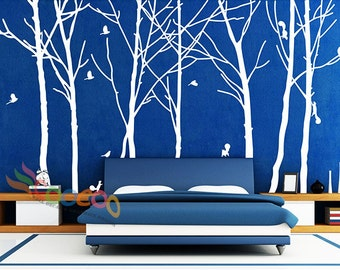 "Wall Decal, wall Stickers ,Tree Wall Decals ,Wall decals, Removable, Tree and Birds, happy forest 94""H * trees"
