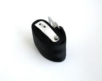Seatbelt Belt - Vegan Belt - Black Seat Belt Webbing with Airline Seatbelt Buckle