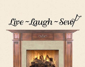 Wall Decal Live Laugh Sew with Needle and Thread Wall Decor