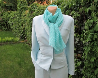 PRETTY MINT SCARF Vintage / Long / Turquoise / with White Polka Dots