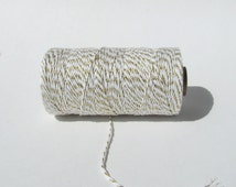 White and Gold Baker's twine, shimmer baker's twine, gold striped twine