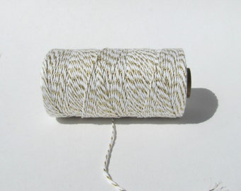 White and Gold Baker's twine, shimmer baker's twine, gold striped twine christmas wrapping