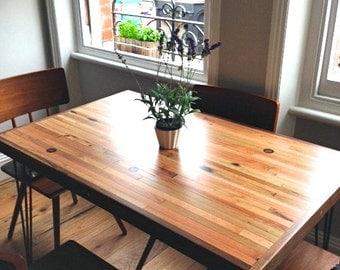 Small Dining Table - Oak & Walnut - Hairpin Legs