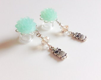 Choose Dahlia Color 0g Dangle Plugs 00g, 2g Ear Plugs Owl Gauges Dangle Custom Body Jewelry, Spring Jewelry Prom Plugs