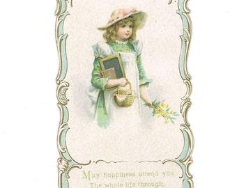 Antique Chromo Die cut Bookmark Old Fashioned Little School Girl in Pinafore Hat Slate Book Bouquet Paper Ephemera