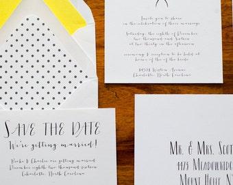 Simple Wedding Invitation Suite (Set of 25) | White Invitation Set, Wedding Invite, Custom Wedding Invitation