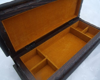 Vintage Wood Burnt Orange Jewelry Box
