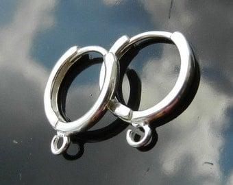 Sterling Silver HOOPS leverbacks Earwires Silver 925 Nickel Free 1 PAIR