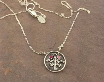 Tree of Life Necklace with 2 stones, Family Tree pendant, The Mighty Oak