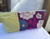 Purple, Teal and Green Floral Large Makeup Bag