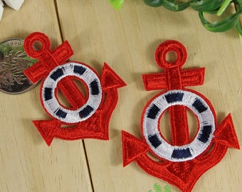 Iron on Fabric Patches - Red Anchors / Blue Anchors - Set of 2 - FP79