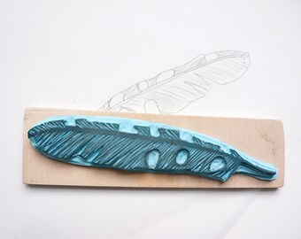 Hand Carved Rubber Stamp Feather