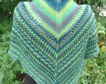 Green with Envy shawl, hand knit, wool