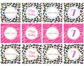 RAINBOW LEOPARD cupcake toppers / favor tags / stickers - YOU Print