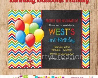 BIRTHDAY BALLOONS Primary - invitation - You Print - any age