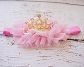 crown baby headband- crown headband - gold crown- princess crown- infant crown headband - newborn crown- gold crown- birthday girls crown