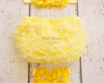 Yellow diaper cover- Ruffle Bloomers - Baby Girl Diaper cover set-  Diaper cover- Toddler Bloomers - yellow bloomer- Bloomers -diaper cover