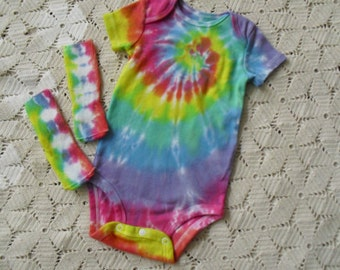 Tie dye one-piece/socks Easter Pastel Rainbow Spiral - some sizes ready to ship, others will ship within a week- 600